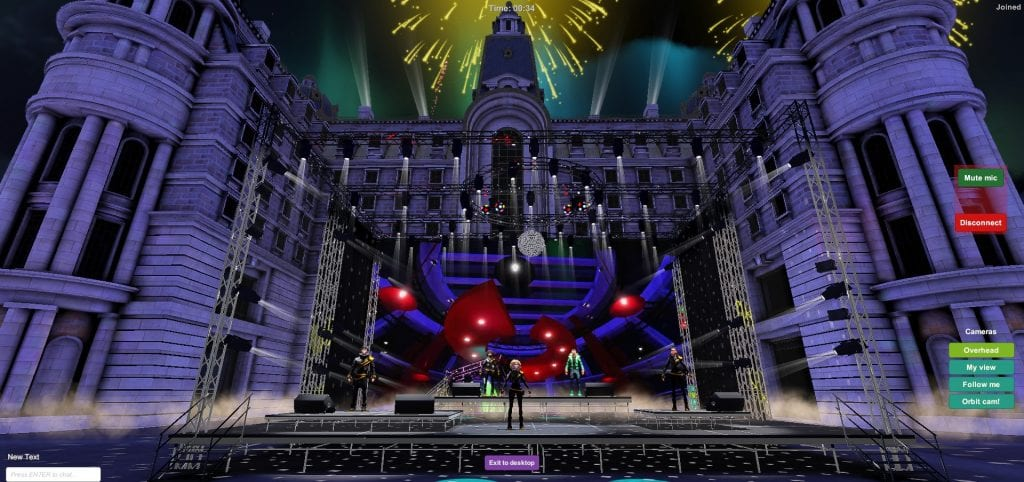 Virtual Stage concert in front of building