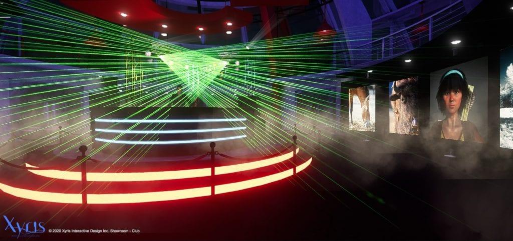 Virtual art gallery at night